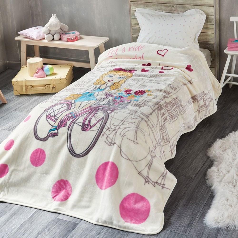 b559d06618c Παιδικά - Εφηβικά :: Κουβέρτες Παιδικές :: Κουβέρτα Μονή Βελουτέ KENTIA  BIKE - White Line - Λευκά Είδη